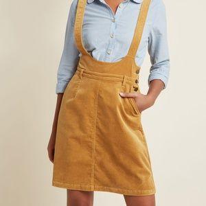 35c9d2fac5 ModCloth Skirts - ModCloth Gold Corduroy Pocket Jumper Skirt